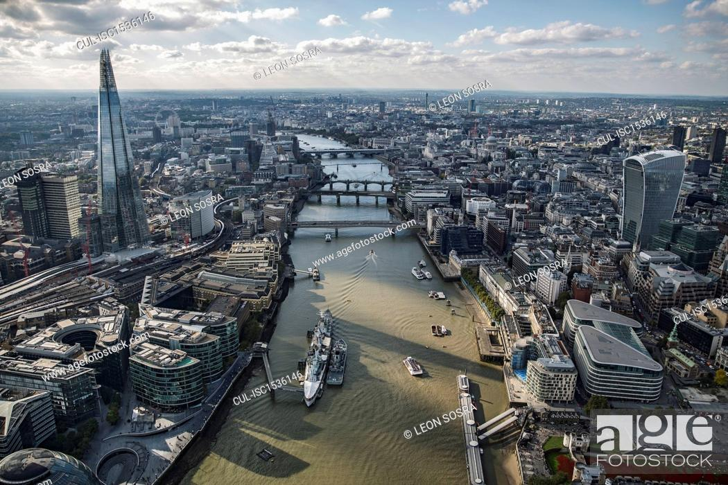 Stock Photo: Aerial view of City of London and the River Thames.
