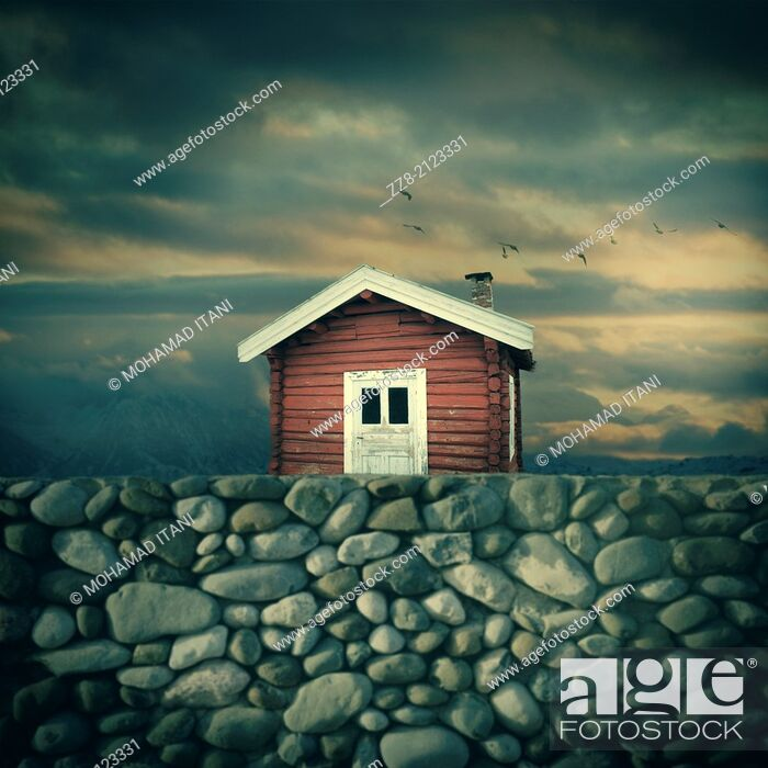 Stock Photo: Digital composite of a red timber house against sunset, Oslo Norway.
