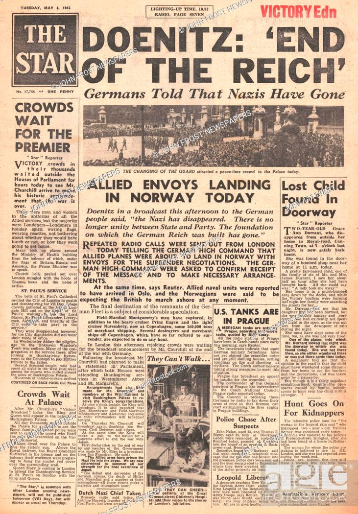 1945 The Star (London) front page reporting Donitz Proclaims End of