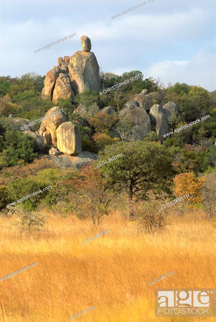 Stock Photo: Granite castle kopjes that dominate the landscape of Zimbabwe's Rhodes Matopos National Park are formed by block erosion, near Bulawayo, Matabeleland South.