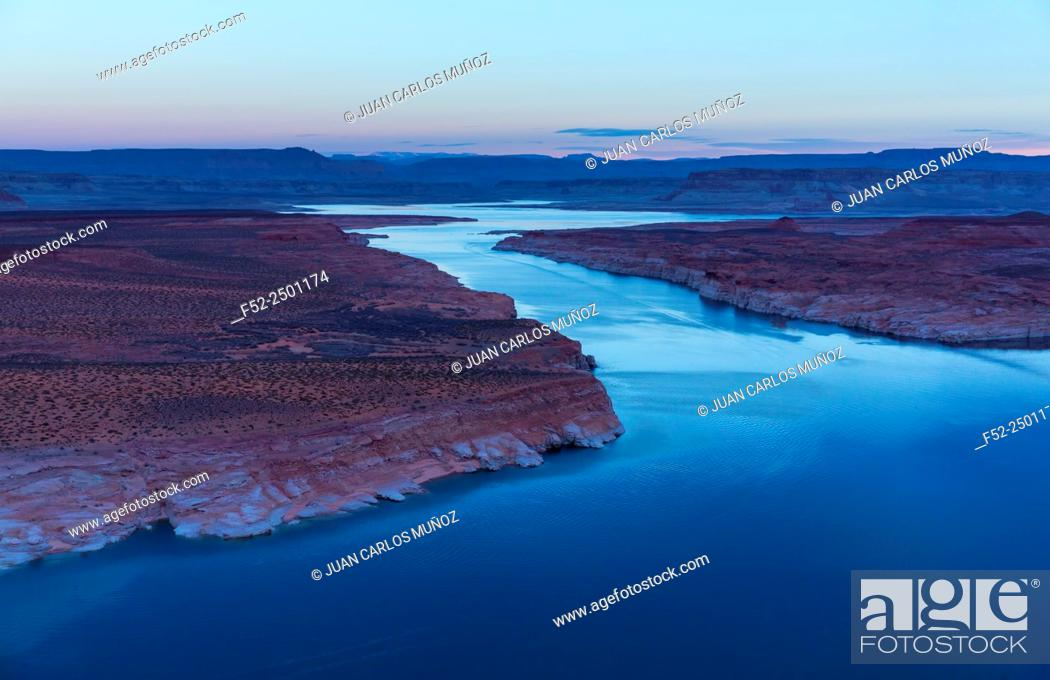 Stock Photo: USA, Arizona, Page, Lake Powell and Colorado River seen from above.
