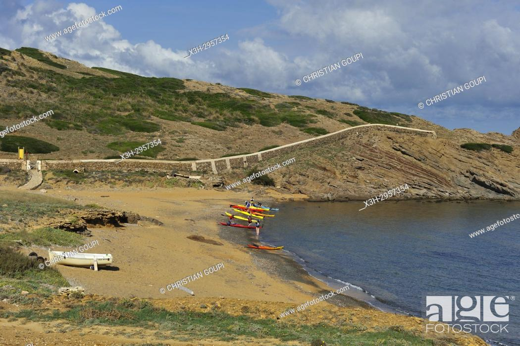 Stock Photo: kayaks at Cala Mica inlet near Cape Cavalleria on the North Coast of Menorca, Balearic Islands, Spain, Europe.