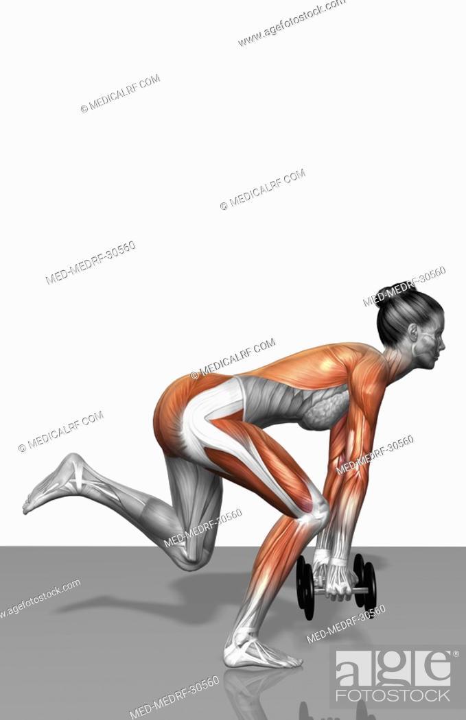 Stock Photo: Single leg dead lift Part 1 of 2.