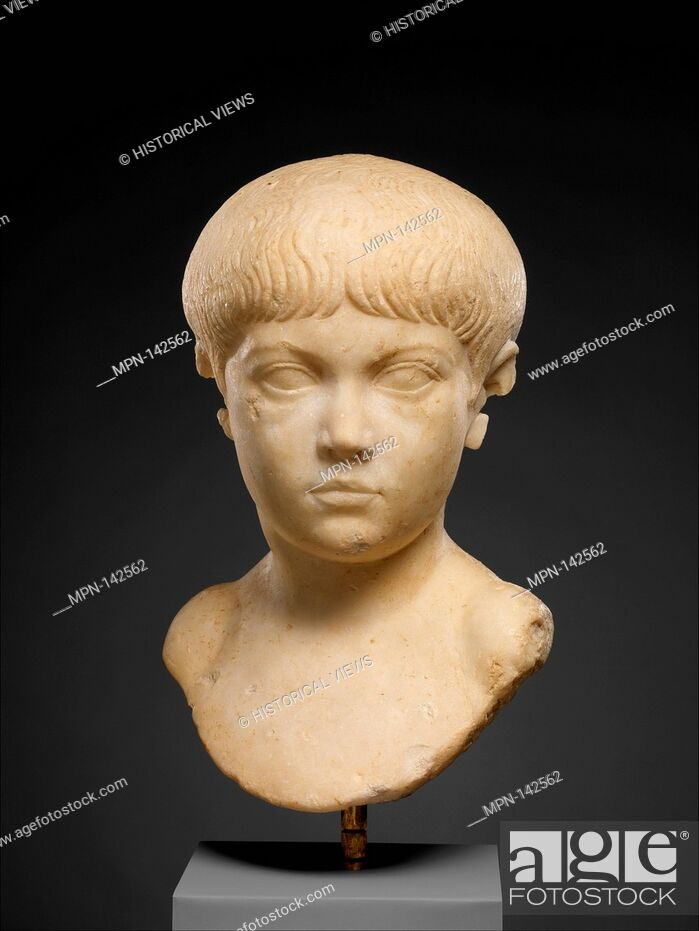 Stock Photo: Marble portrait bust of a boy. Period: Early Imperial, Julio-Claudian; Date: ca. A.D. 35-50; Culture: Roman; Medium: Marble; Dimensions: H. 12 1/2 in.