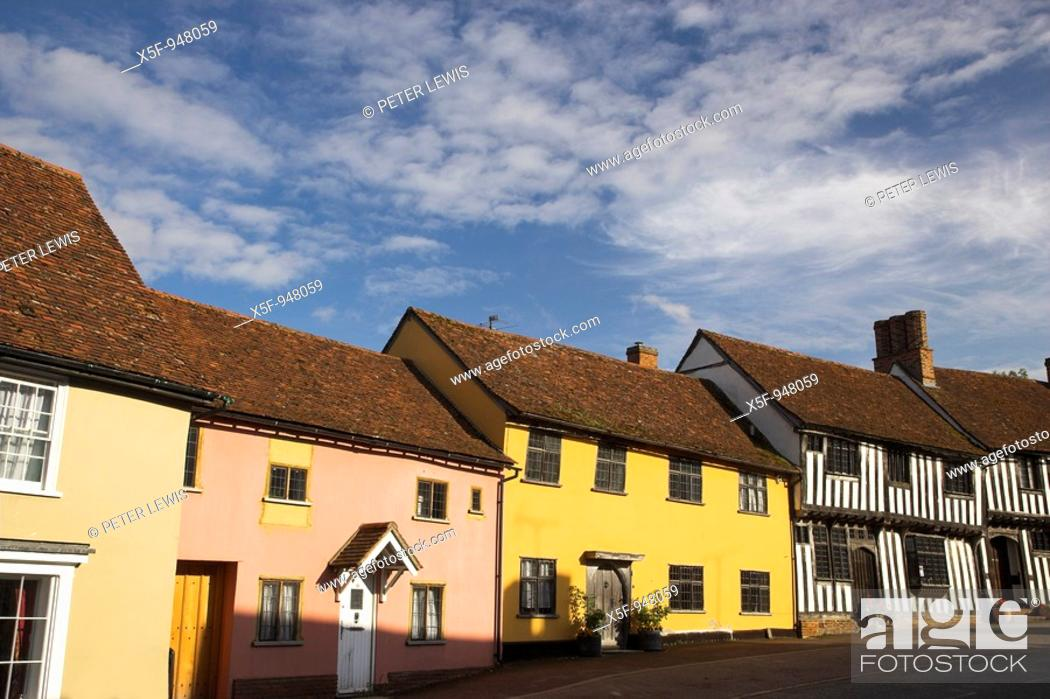 Stock Photo: Lavenham Suffolk one of the most outstanding Villages in East Anglia, its appearance has hardly changed since its heyday as an impotant Wool Town in the 14th.