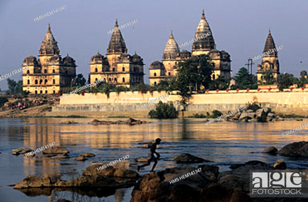 Stock Photo: India, Madhya Pradesh State, Orchha, chhatri (tombs) on Betwa riverside.
