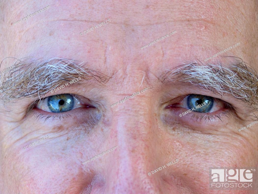 Stock Photo: Close up of senior man's eyes, Block Island, Rhode Island, USA.
