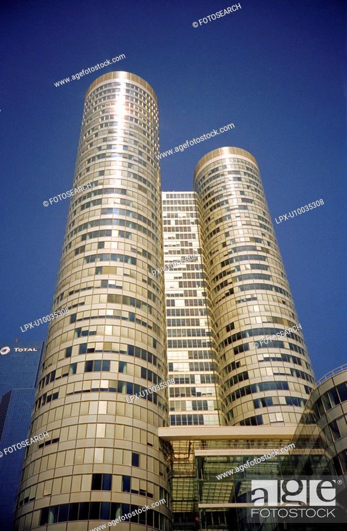 Stock Photo: Detail of a building, Paris La Defense, France.