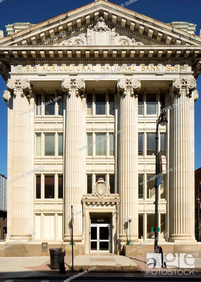 Stock Photo: Agricultural National Bank (1908, Greek Revival), Pittsfield, Berkshire Hills, Massachusetts, USA.
