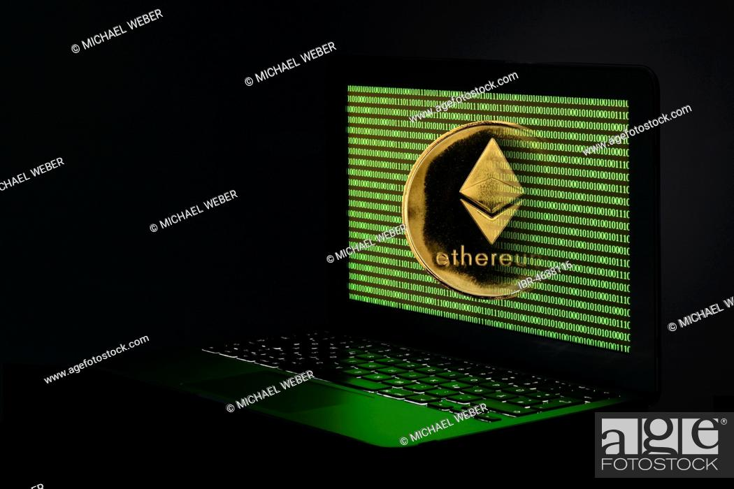 Symbol image cryptocurrency, digital currency, gold physical