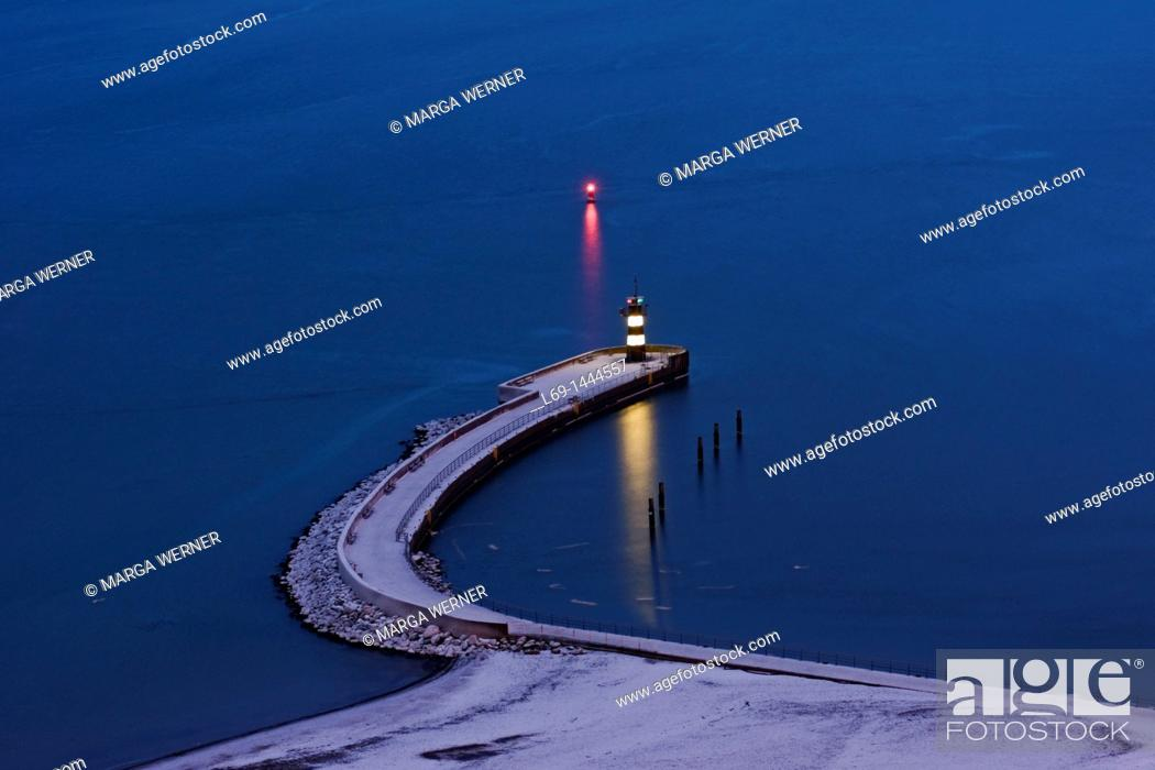 Stock Photo: Travemuende, 'Nordermole', driving lights and water safety at night, Baltic, Schleswig-Holstein, Germany, Europe.