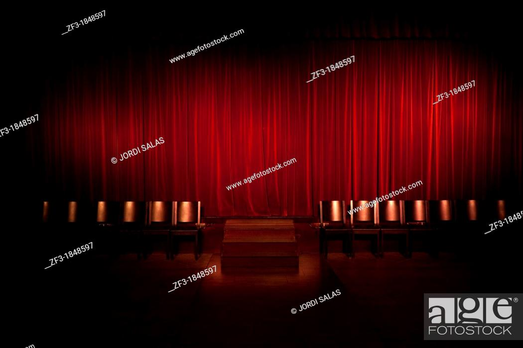 Stock Photo: Red curtain in a theater.