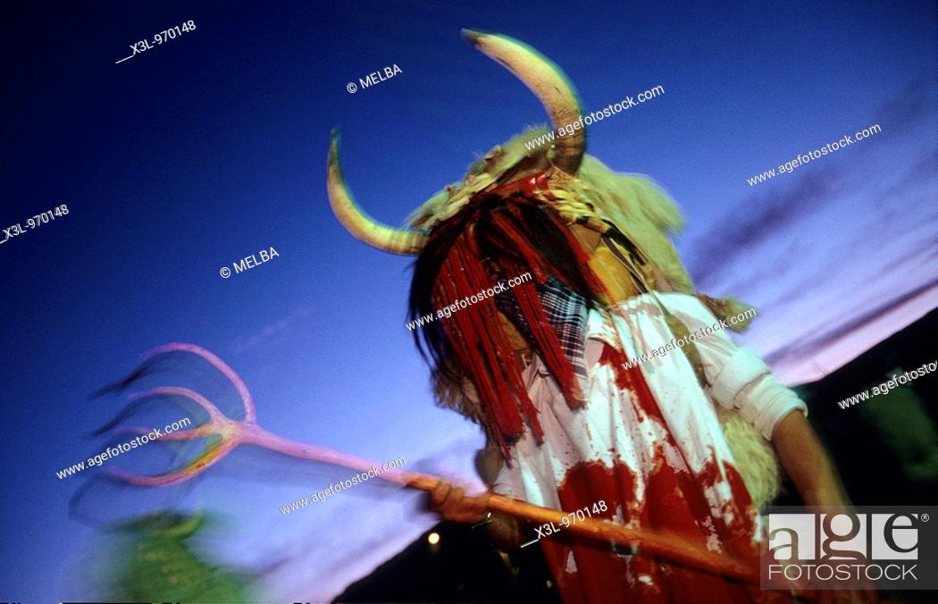 Stock Photo: Momotxorros  Alsasua carnival  Navarra  Spain.