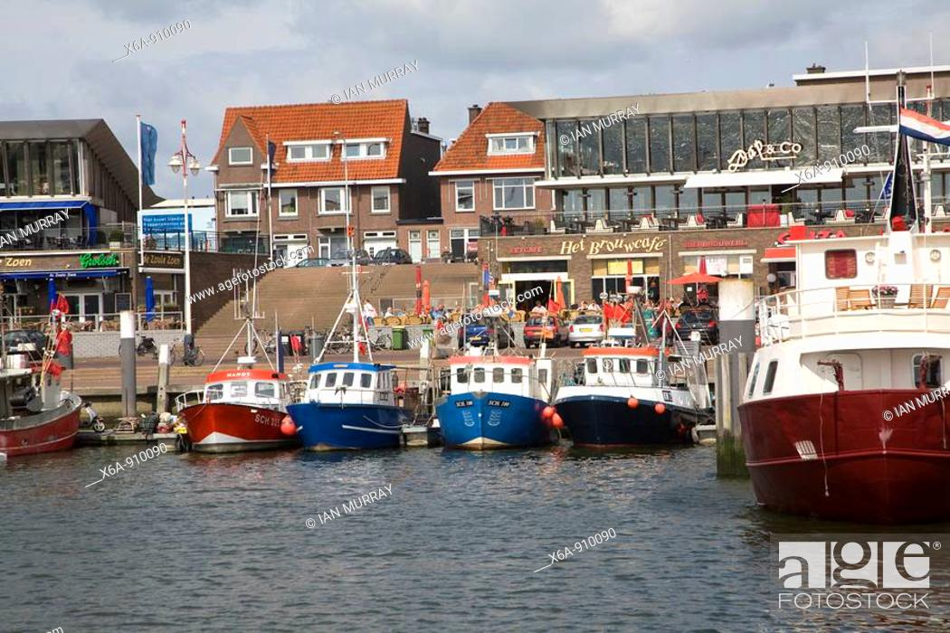 Stock Photo: Fishing boats Scheveningen harbour Holland.