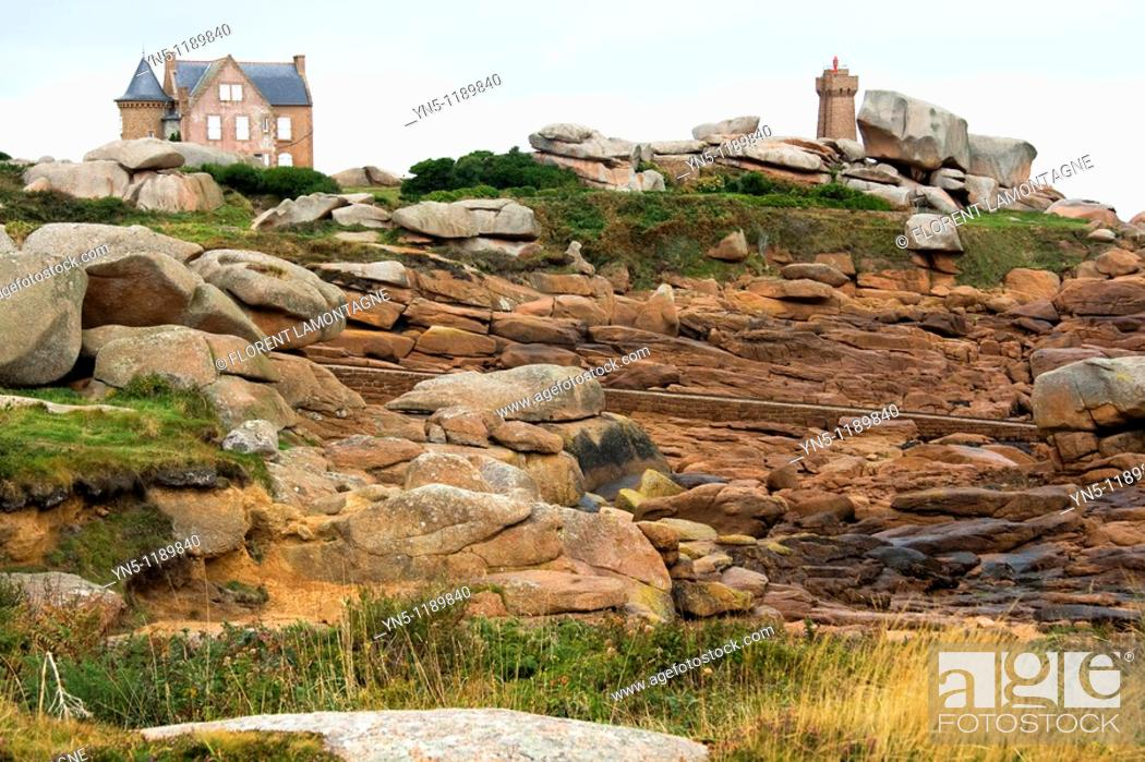 Stock Photo: France, Bretagne province, Departement of Cote d'Armor 22, Ploumanach   Beautiful site with old houses, lighthouse and a path along the coast made of rose.