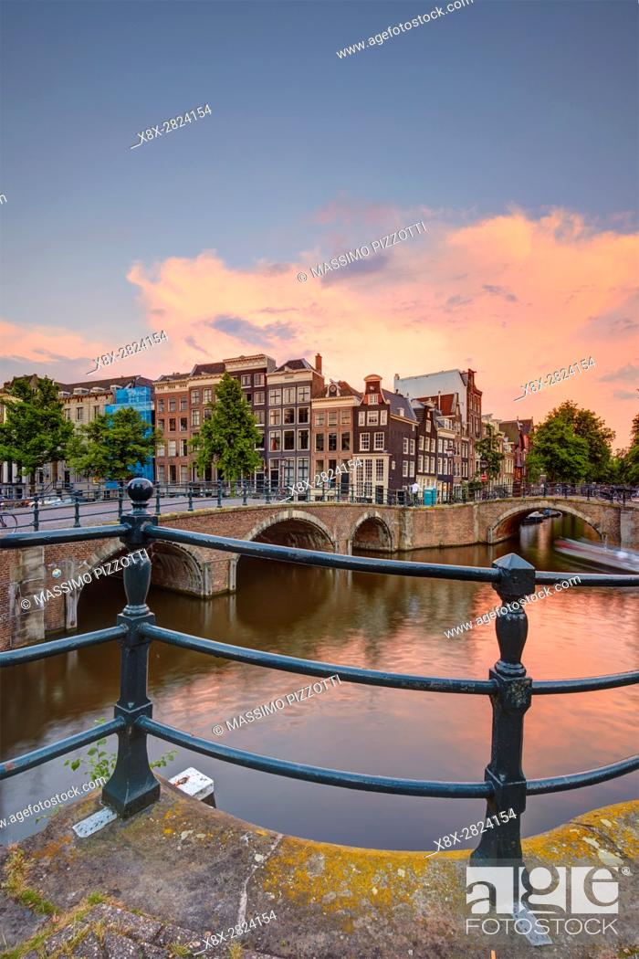 Stock Photo: Keizersgracht Canal in Amsterdam, Netherlands.