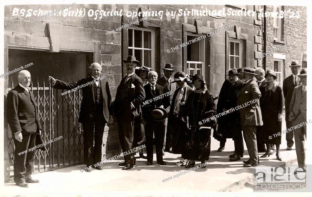Stock Photo: Official Opening of Grammar School by Sir Michael Sadler, Burford, near Witney, Oxfordshire, England.