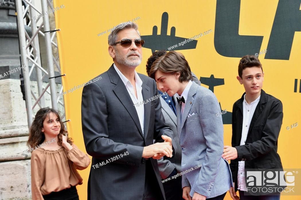 Stock Photo: Viola Pizzetti, George Clooney, Giovanni Stocchino, Domenico Cuomo during 'Catch-22' TV show photocall, Rome, Italy - 13 May 2019.