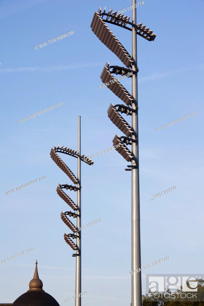 Stock Photo: France, Moselle, Lorraine Region, Metz, Place de la Republique, streetlamps.