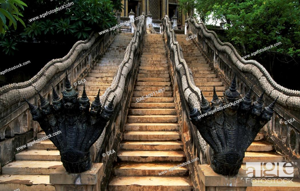Stock Photo: Architectural detail of a staircase of the ancient city of Muang Boran, Bangkok, Thailand.