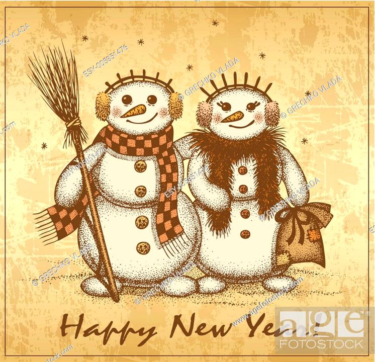 Stock Vector: Christmas retro card with two snowmen boy and girl.
