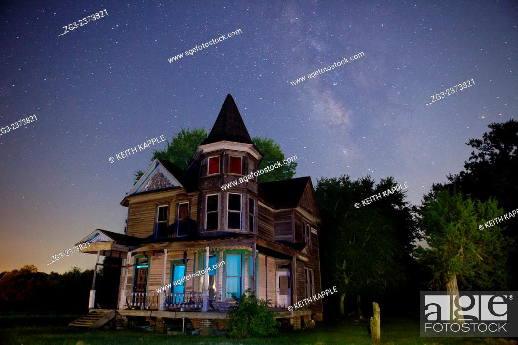 Stock Photo: Abandoned Victorian Era Home under the Milky Way in Kosse Texas.