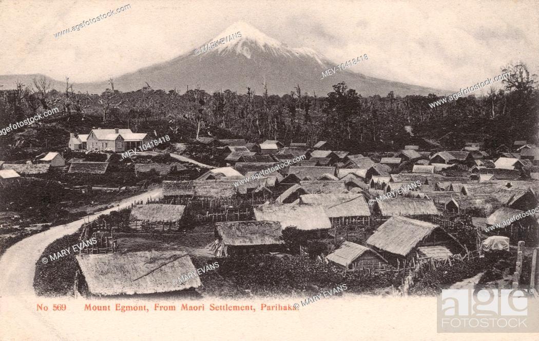 Stock Photo: New Zealand - Mount Egmont - view from the Maori settlement at Parihaka.