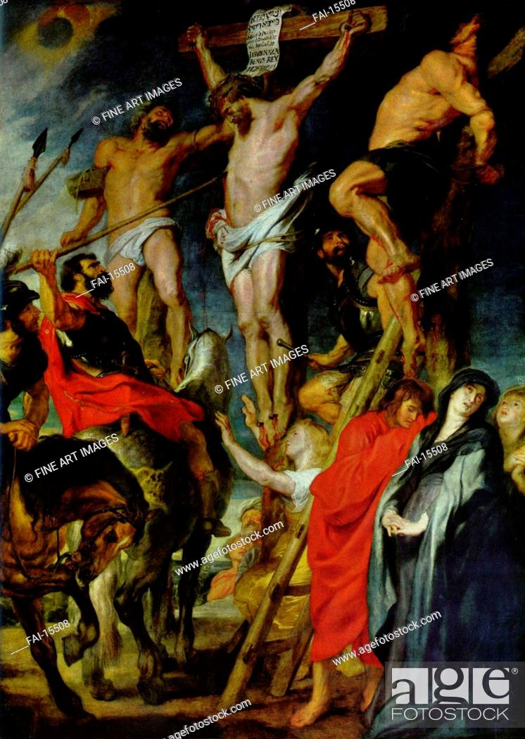 Stock Photo: Christus am Kreuz zwischen den beiden Schächern (Pierced with a Lance). Rubens, Pieter Paul (1577-1640). Oil on wood. Baroque. 1620.