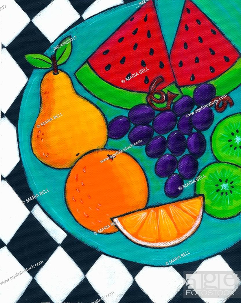 Stock Photo: A plate of fresh fruit.