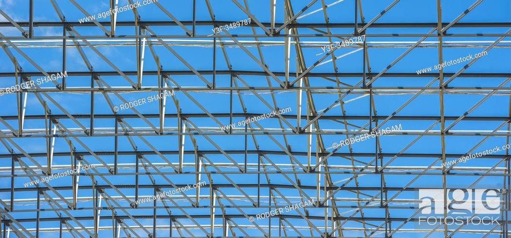 Stock Photo: Steel framework of a warehouse under construction. Cape Town, South Africa.