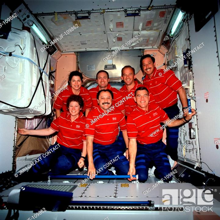 Stock Photo: The seven crew members for STS-101 pose for an inflight crew portrait on the International Space Station. Pictured in Unity or Node 1 are (rear.