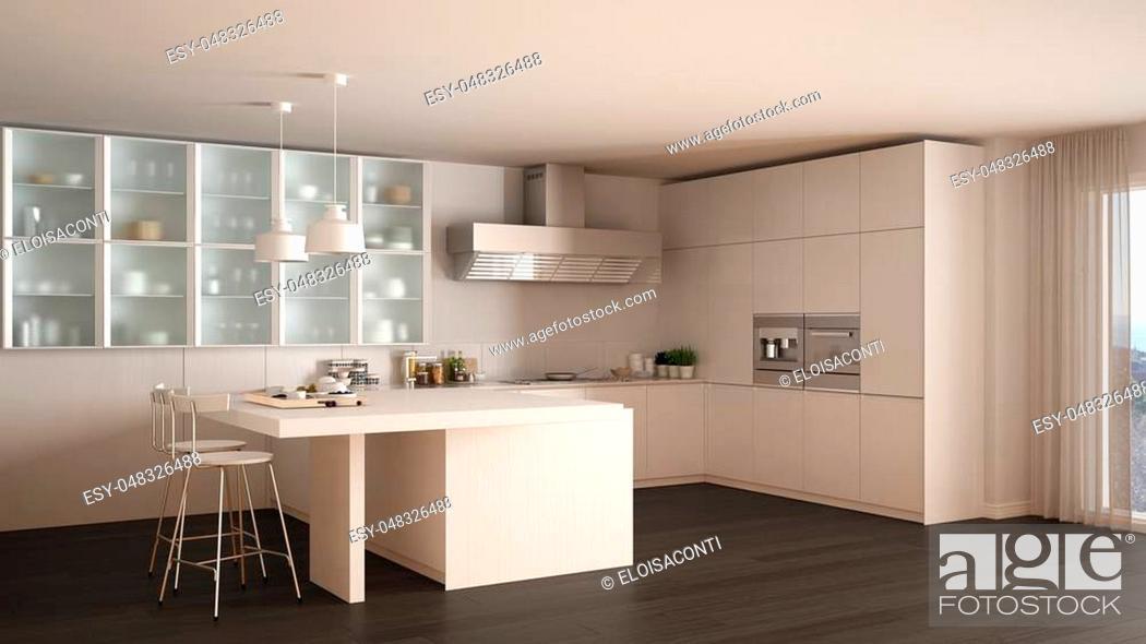 Stock Photo: Classic minimal white kitchen with parquet floor, modern interior design.