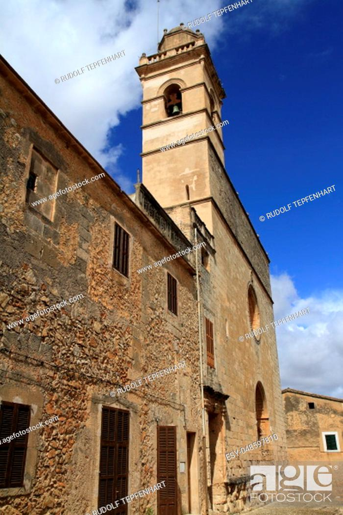 Stock Photo: Convent de Sant Bernadí built in 1607 by the Franciscans in the heart of Petra village, Mallorca, Spain.
