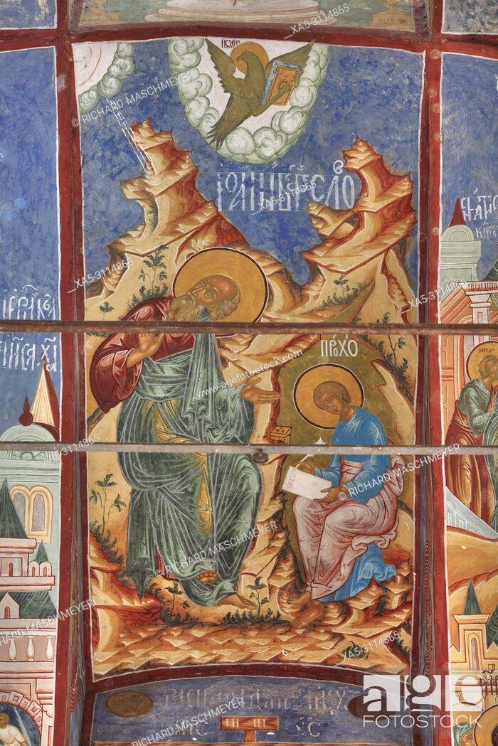 Imagen: Frescoes, Miracle Image of the Saviour Church, Kremlin, Rostov Veliky, Golden Ring, Yaroslavl, Russia.