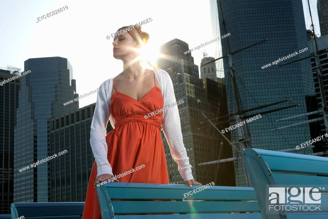 Stock Photo: One woman standing up on a ferryboat.