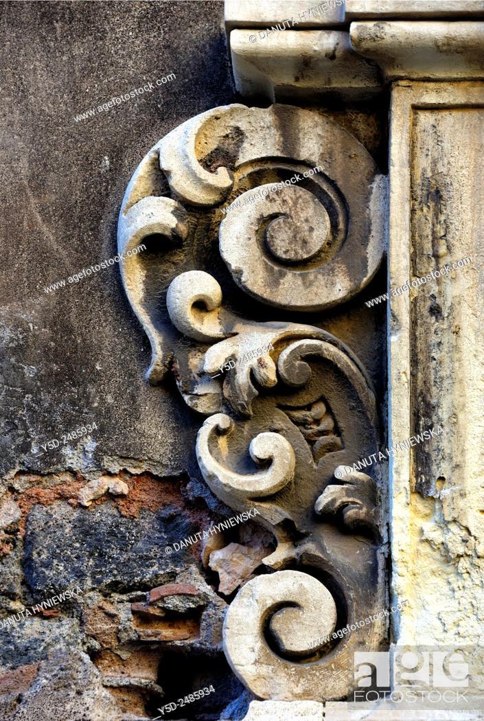 Imagen: Europe, Italy, Sicily, Catania, old town, Via Crociferi, entrance to Ex-Collegio dei Gesuiti - Jesuit College, detail.