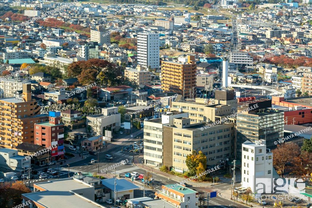 Imagen: aerial view of city of koriyama in Fukushima Japan.