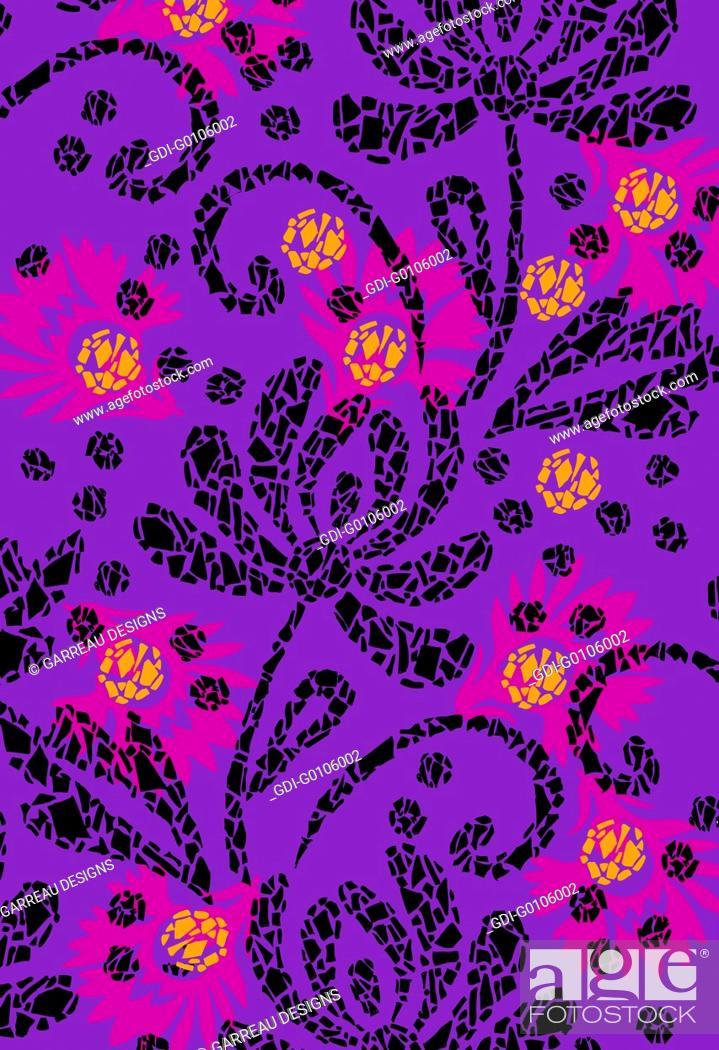 Imagen: Mosaic style flower design.