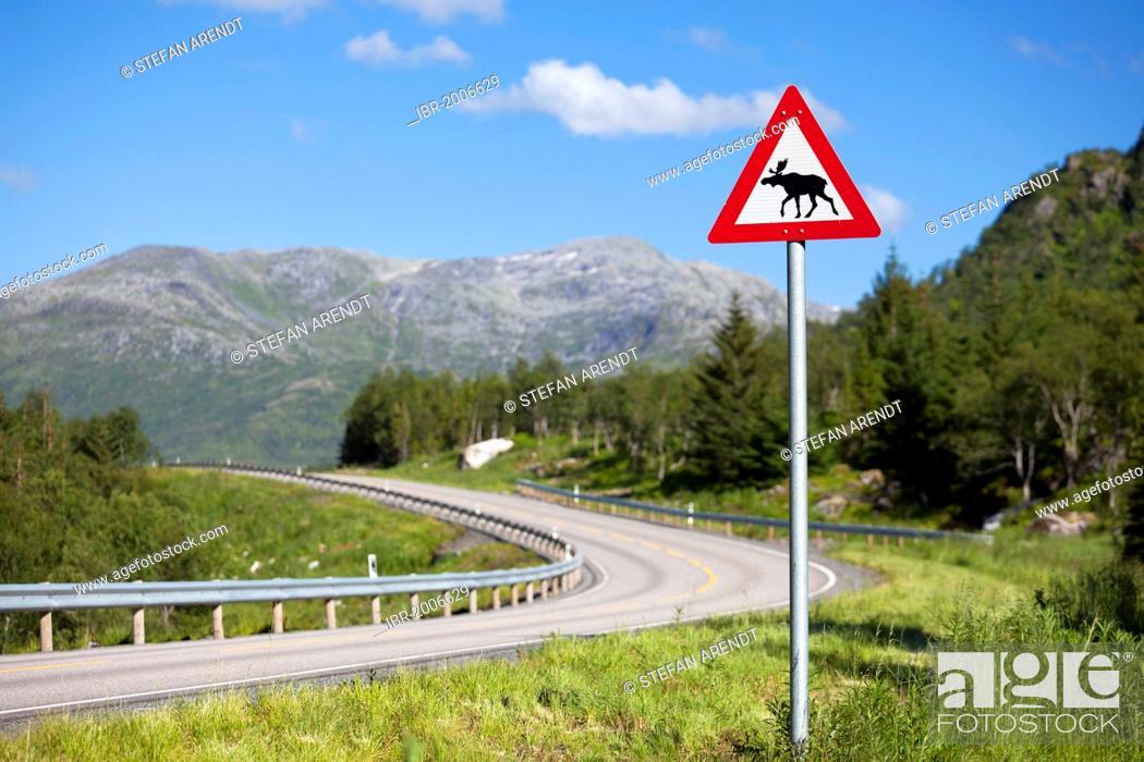 Stock Photo: Elk warning sign on the roadside of a road in the Lofoten Islands, Norway, Scandinavia, Europe.