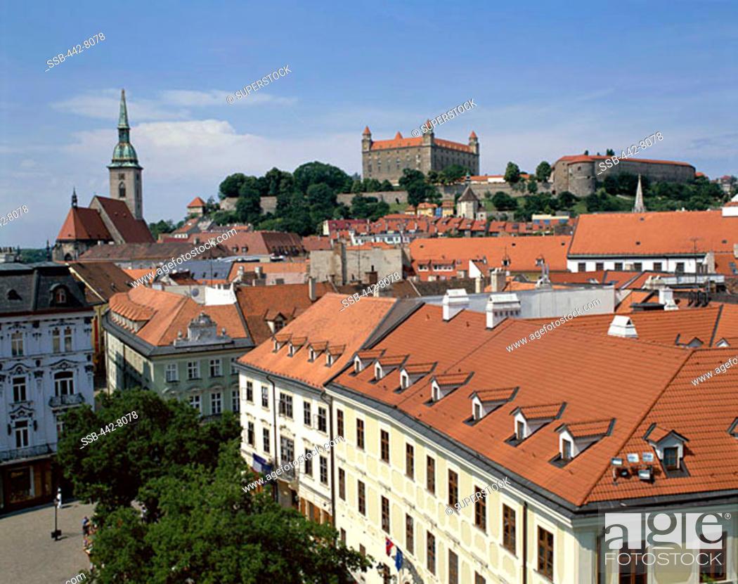 Stock Photo: Old City Rooftops and Castle, Bratislavia, Slovakia.