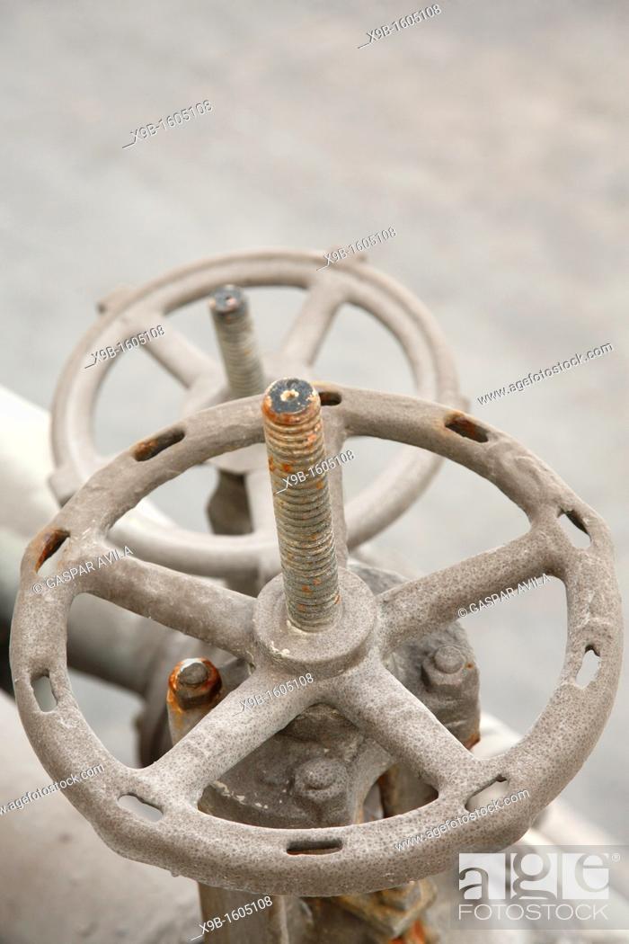 Stock Photo: Pipeline valves.