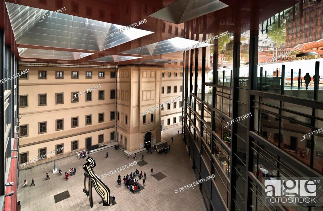 Stock Photo: Looking down into the inner Plaza of The Centro de Arte Reina Sofia, art Gallery, designed by architect Jean Nouvel, Madrid, Spain.