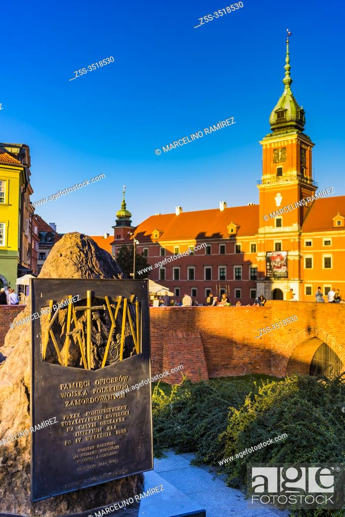 Stock Photo: Katyn monument in Warsaw, commemorating the victims of the Katyn massacre designed by the sculptor Andrzej Renes, in the background The Royal Castle in the.