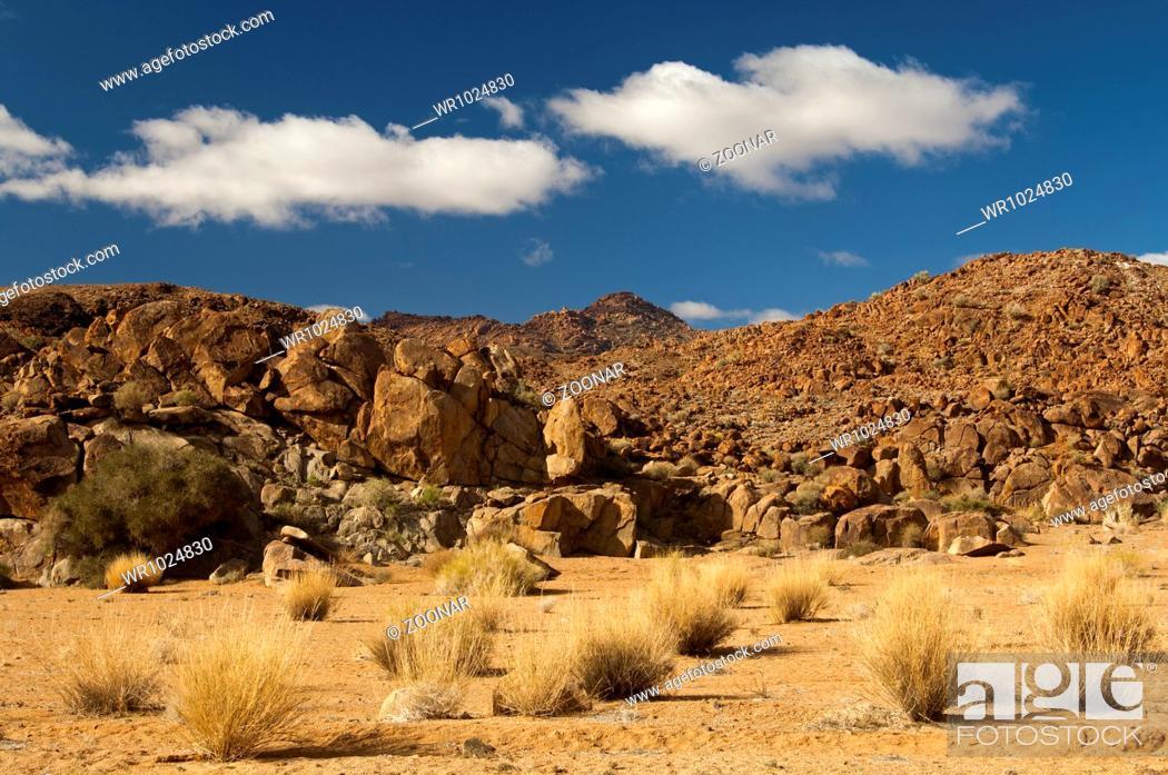Stock Photo: heavily eroded granite peak in the Richtersveld.