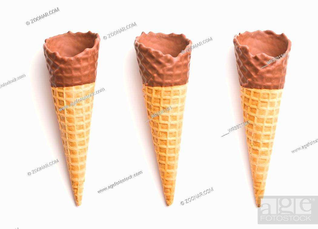Stock Photo: Ice cream cone with chocolate isolated on white background.