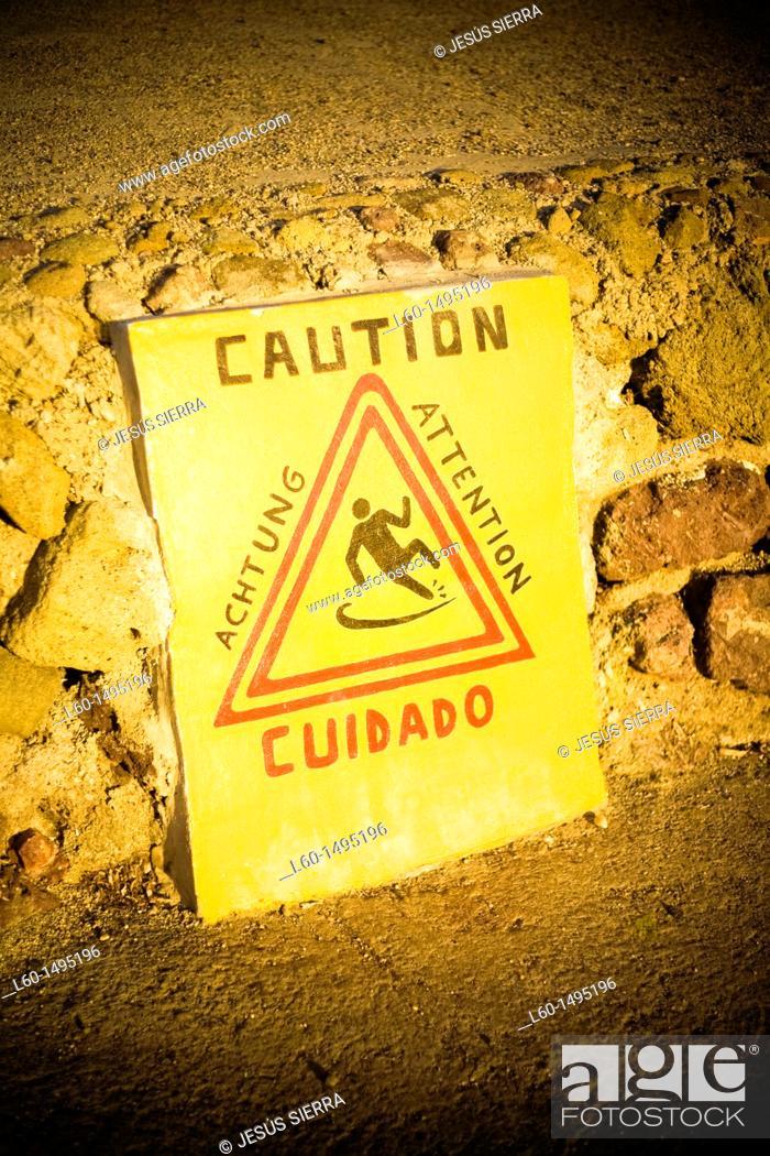 Stock Photo: Caution in Isleta del Moro harbour, Cabo de Gata, Almeria.