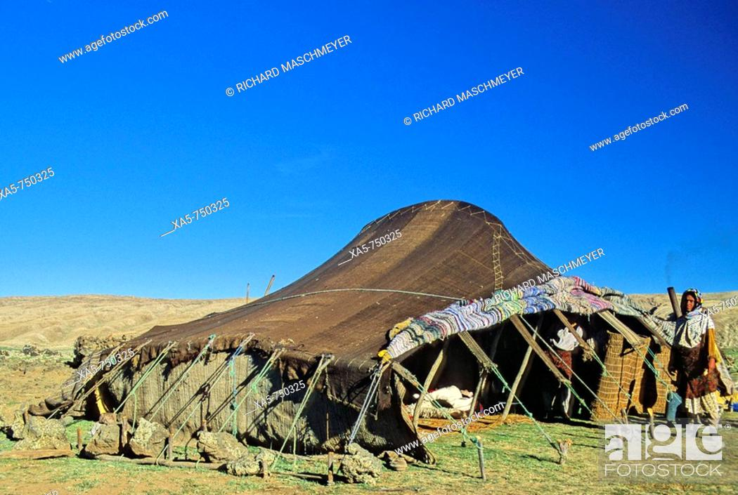 Stock Photo: Morocco, Middle Atlas Mountains, near Ifrane, Berber tent with Berber woman.