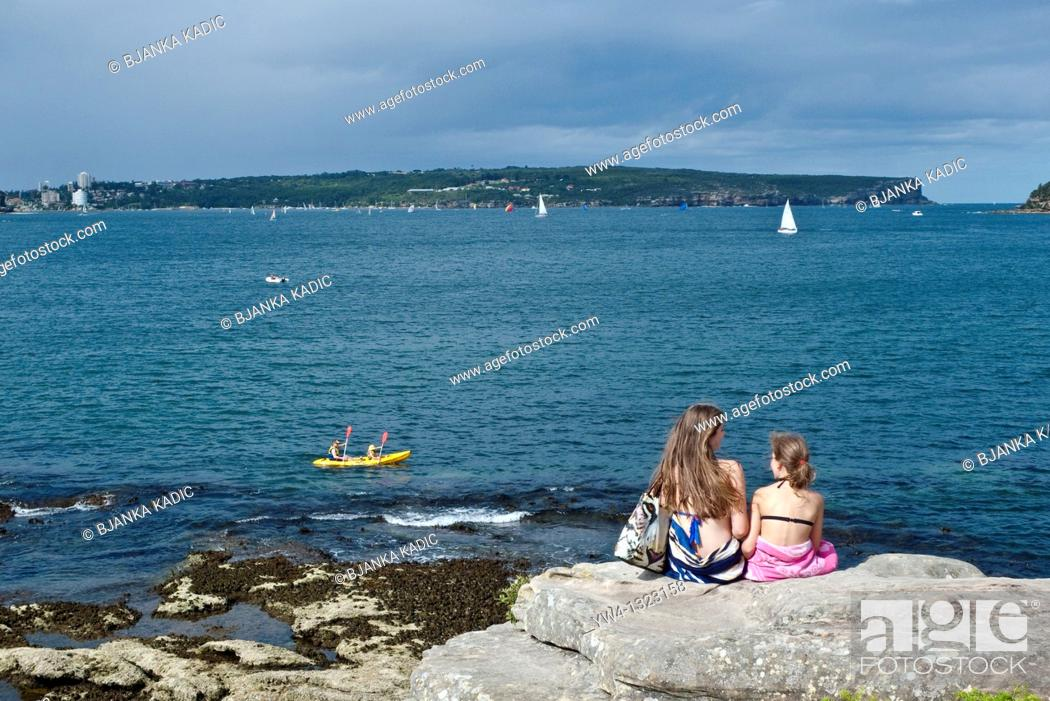 Stock Photo: View of The North and South Head of Sydney Harbour from Rocky Point island, Balmoral, Sydney, Australia.