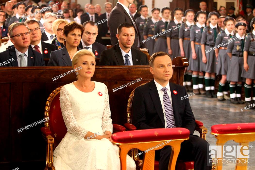Stock Photo: May 3rd, 2018. Warsaw, Poland. Presidential Couple during holy mass for the intention of Poland. Pictured: President of Poland Andrzej Duda and the First Lady.