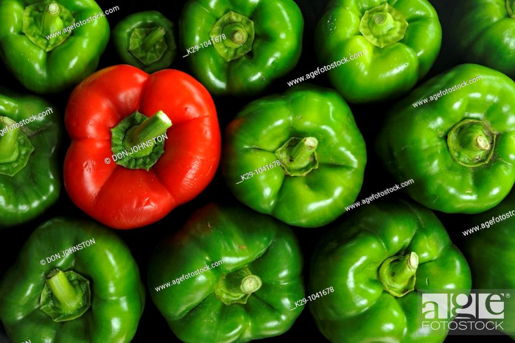 Stock Photo: Green and red peppers.